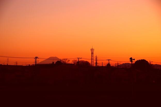 ベランダ富士山の夕暮れ