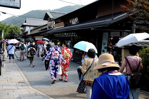 嵯峨野を散策する観光客