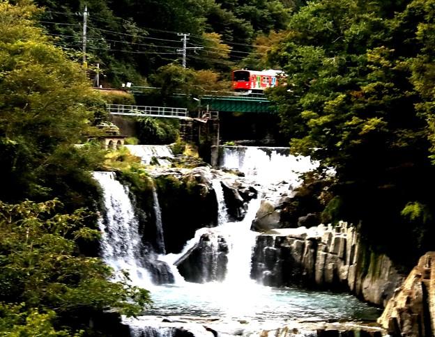 富士急電車が通る田原の滝