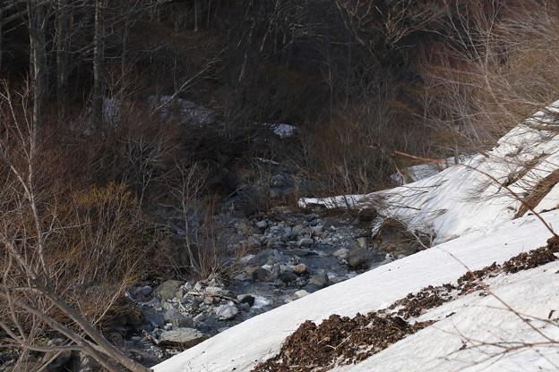 川流れる残雪風景