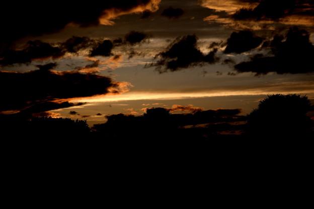 夕焼け 一筋の雲