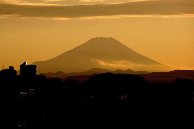 日没中の富士山