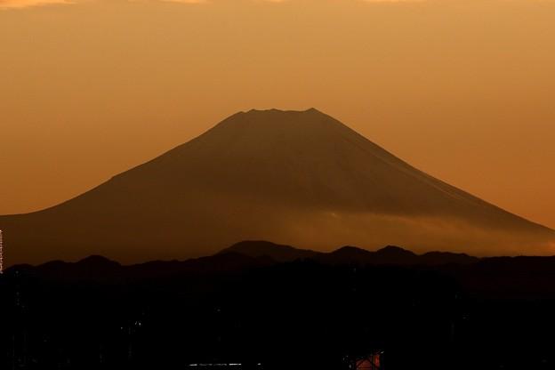 黄昏れの富士山