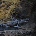 秋の甌穴群の沢の流れ