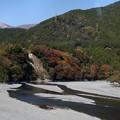 車窓からの大井川の紅葉