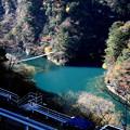 寸又峡の展望台施設と夢の吊り橋紅葉風景