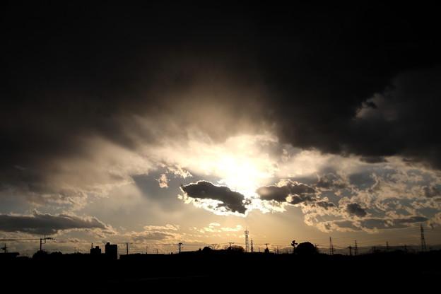夕方の光芒
