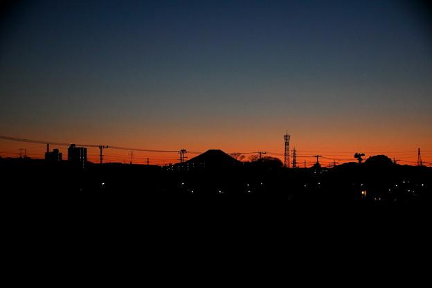 暮れゆく富士山