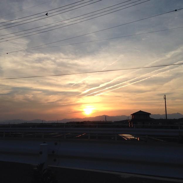 写真: 今日の夕日