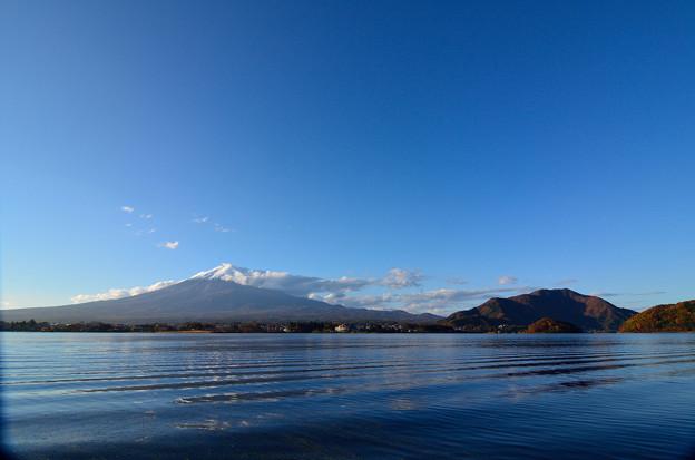秋空と富士山を河口湖から望む