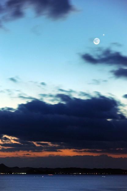 19 早朝の月と星