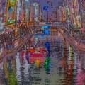 絵画調の道頓堀川