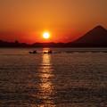 写真: 城ケ崎展望所からの夕陽
