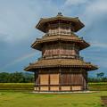 Photos: 八角形鼓楼と虹