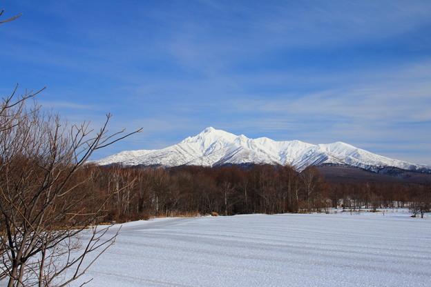 早春の斜里岳