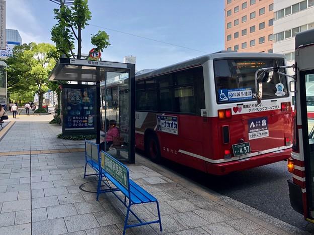稲荷町 バス停 広島市南区稲荷町 相生通り 2018年5月25日