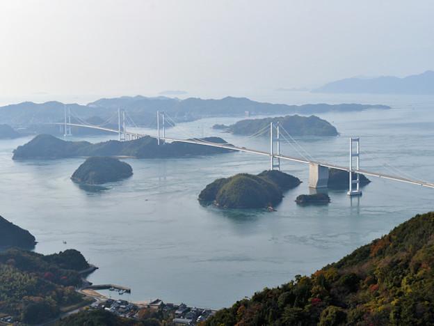 来島海峡大橋(大島 亀老山展望台から)