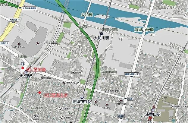 南海七道駅、河口慧海像、同生家跡位置図