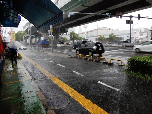 河内中野南交差点付近で雨宿り (1)