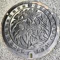 Photos: 791-0002松山市のマンホール(汚水)・モノクロ版