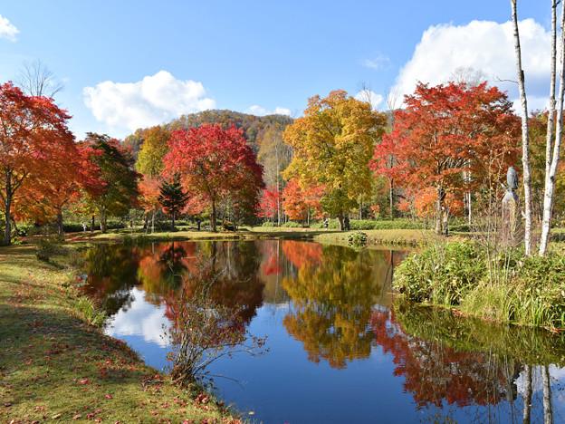 福原山荘  水面に映る紅葉