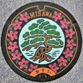 033-0000三沢市のマンホール(松とサツキの図柄)