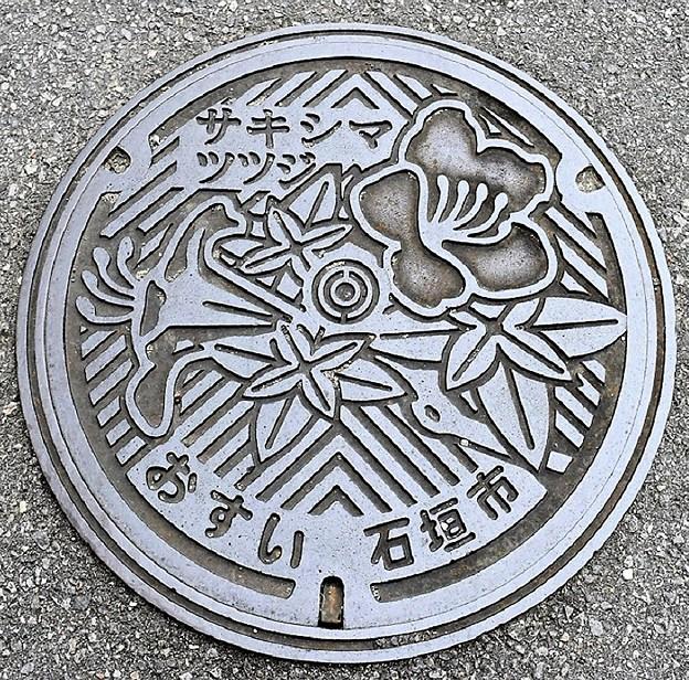 907-0000石垣市のマンホール(サキシマツツジの図柄)