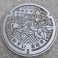 Photos: 907-0000石垣市のマンホール(サキシマツツジの図柄)