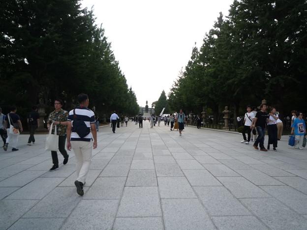 美しく生まれ変わった靖国神社石畳の参道