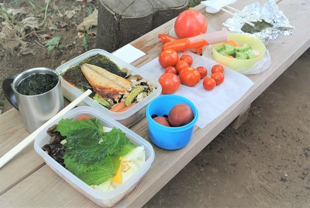 菜園での昼食