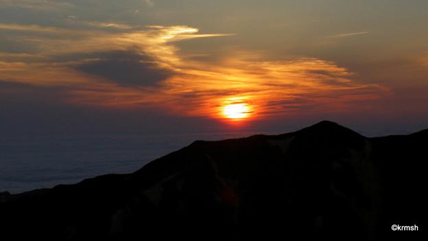 大朝日岳の夕日