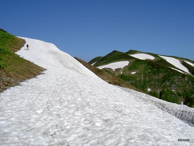 雪田を登る
