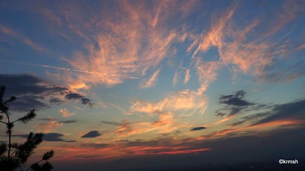 左から飛行機雲