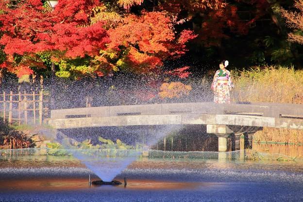 紅葉と記念撮影