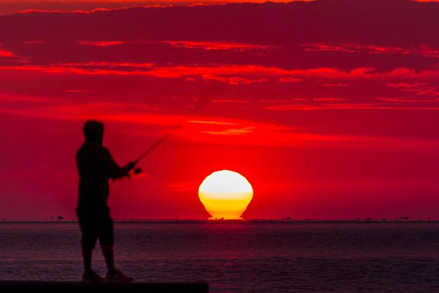 朝陽を釣る