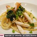 イカ、青菜、カラスミのスパゲッティ