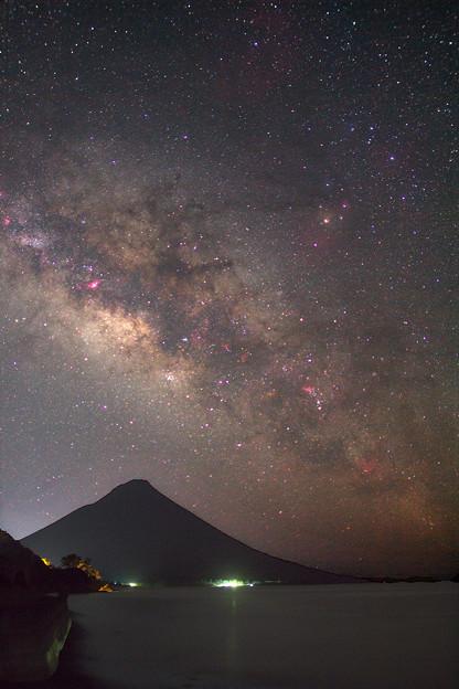 Photos: 開聞岳とさそり座,天の川