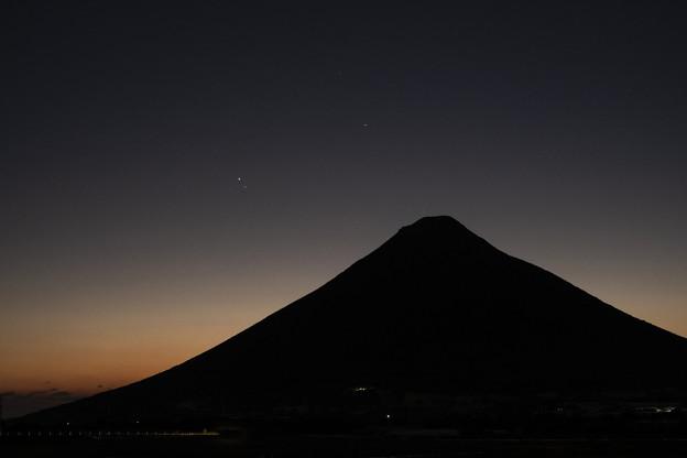 開聞岳と木星と土星_満二