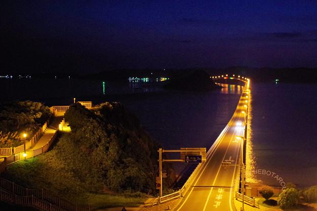写真: 角島大橋の夜景