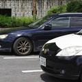写真: パトカーとツーショット