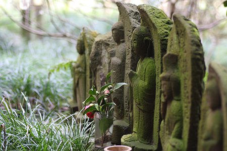 2009.03.07 報国寺 六地蔵に椿一輪