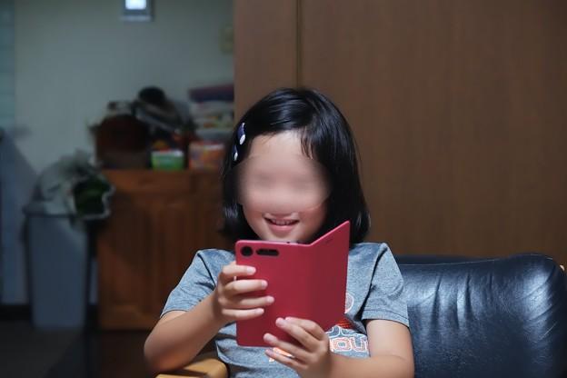 2018.07.24 居間 姫 SkypeしながらLINE