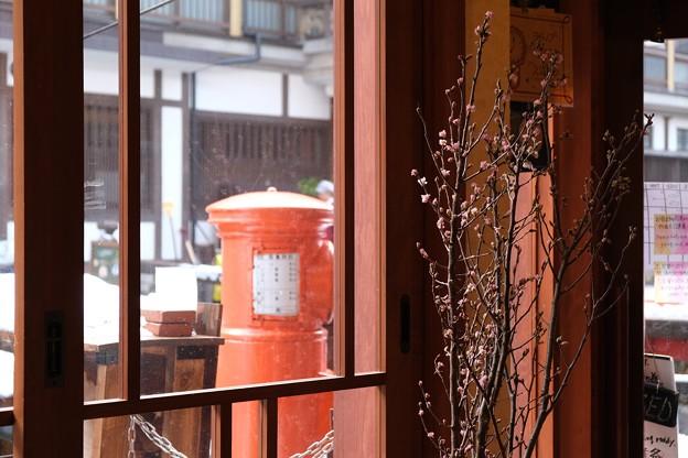 2020.01.22 銀山温泉 酒茶房クリエ ポストと桜