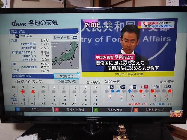 写真: 最低気温鉾田-2.5 1803070007