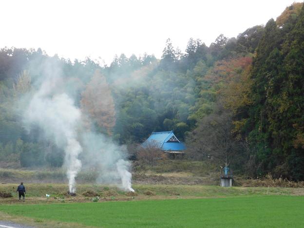 DSCN2212焚火と紅葉と竹林