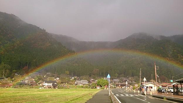 田んぼにかかる二重の虹
