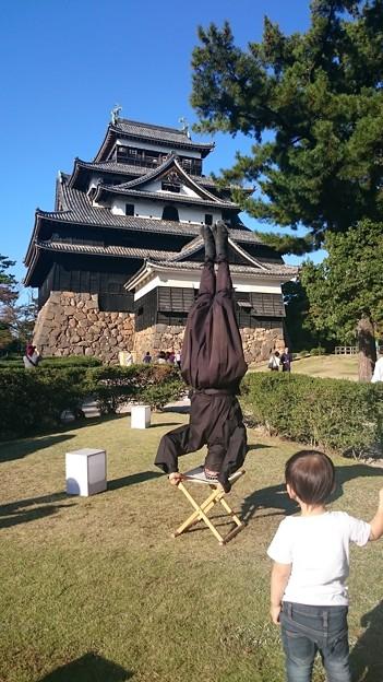 松江城の忍者とじっと見つめる男の子 2