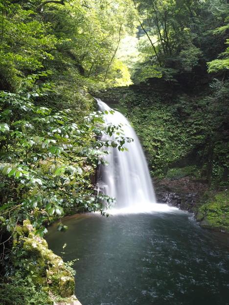 写真: 心なごむ滝の音が