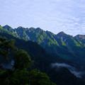 写真: 6時の穂高連峰