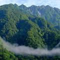 写真: バルコニーから6時半の穂高連峰